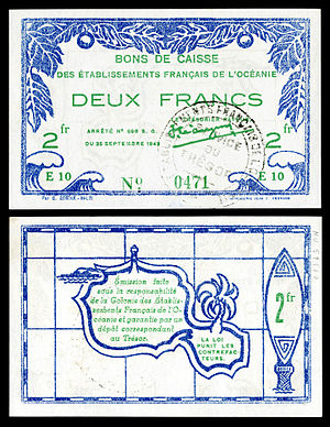 French Polynesia - A two-franc World War II emergency-issue banknote (1943), printed in Papeete, and depicting the outline of Tahiti on the reverse.