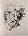 Face of a bearded man expressing anger. Engraving by M. Enge Wellcome V0009359.jpg
