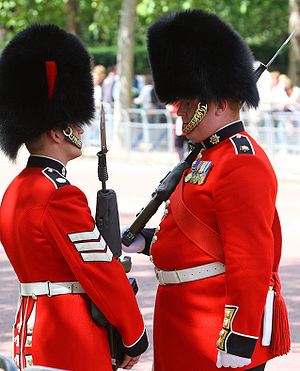 Colour sergeant - A colour sergeant of the Coldstream Guards (right) speaking to a lance sergeant (left).