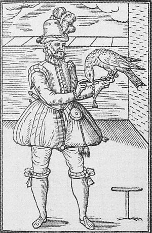 George Turberville - A falconer, woodcut illustration from Turberville's Book of Falconry or Hawking (1575).
