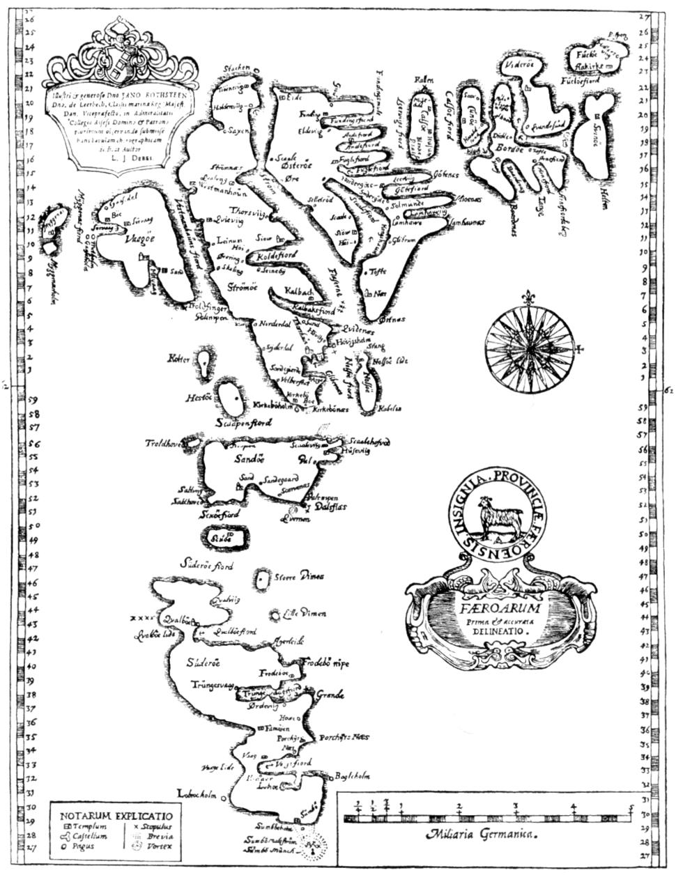 Faroe map 1673 by lucas debes