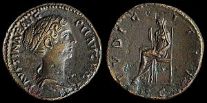 Dupondius - O: Draped bust of Faustina the Younger