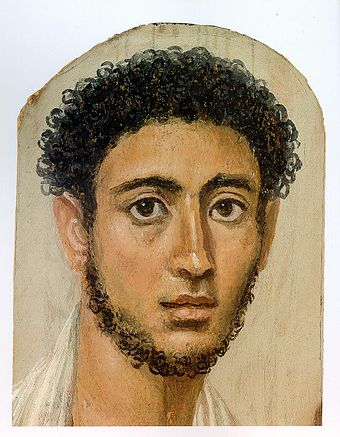 Roman-era portrait of an Egyptian mummy from the Fayum collection, c. AD 125 - AD 150 Fayum-01.jpg