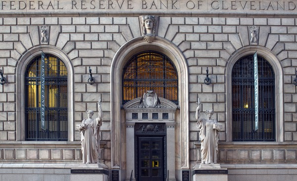 Entrance of the Federal Reserve Bank of Cleveland on East 6th Street downtown. Federal Reserve Bank, Cleveland, Ohio LCCN2010630382.tif
