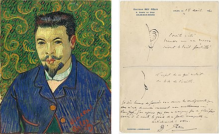 Portrait of Félix Rey, January 1889, Pushkin Museum; note written by Dr Rey for novelist Irving Stone with sketches of the damage to van Gogh's ear