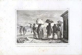 Femmes cabocles (sauvages civilisés) vivant du métier de blanchisseuses dans la ville de Rio de Janeiro