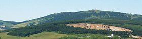 Vue panoramique depuis le Hoher Stein, en République tchèque, sur le Fichtelberg.