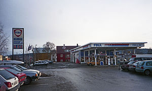 Petrofina - A Fina petrol station in Trondheim, Norway in 1998.