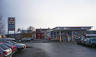 Petrofina - A Fina petrol station in Trondheim, Norway in 1998.