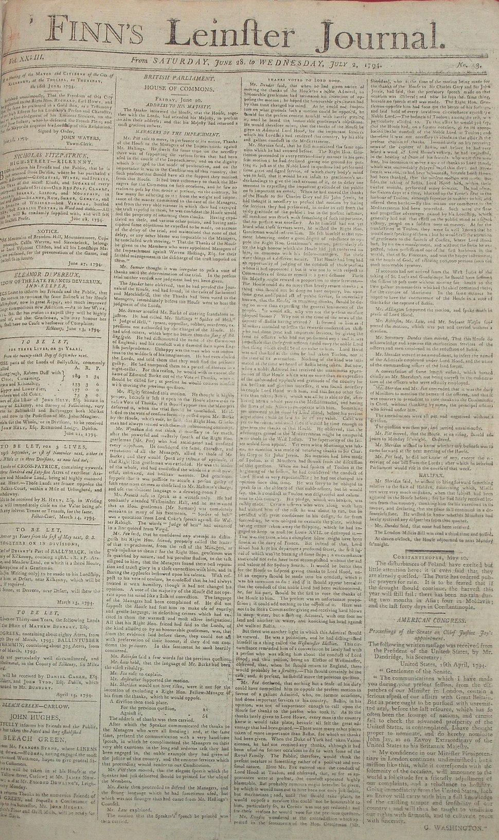 Finn's Leinster Journal 1794