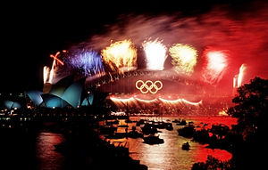 2000 Summer Olympics - Olympic colours on the Sydney Harbour Bridge.