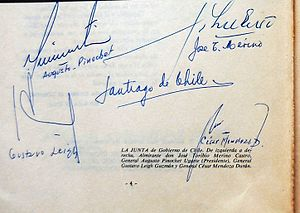 Government Junta of Chile (1973) - Signatures of members of the Government Junta, 1973.