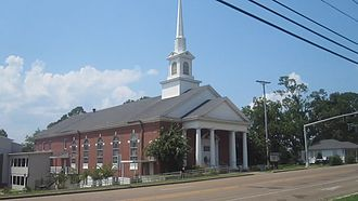 Jonesboro, Louisiana - The First Baptist Church of Jonesboro is located at the intersection of Jimmie Davis Boulevard and South Cooper Avenue.