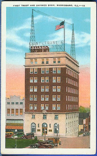 The Renaissance Revival First Trust and Savings Bank Building was the largest of the downtown building projects during the 1920s. It was the second tallest building in Southern Illinois with the first being the Spivey Building in East St. Louis.