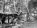 First World War, woods, newspaper, reading, man, uniform, railing, chair Fortepan 5331.jpg
