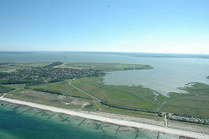 Bodden - Aerial view of Saaler Bodden with Permin Bay, separated from the Baltic Sea (bottom left) by the narrow Fischland peninsula