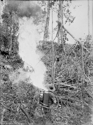 2/23rd Battalion (Australia) - A soldier from the 2/23rd with a flamethrower during fighting on Tarakan, 1 June 1945.