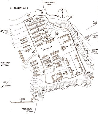 Flossenbürg concentration camp - Hand-drawn plan of the Flossenbürg concentration camp by Stefan Kryszak, a survivor of the camp.