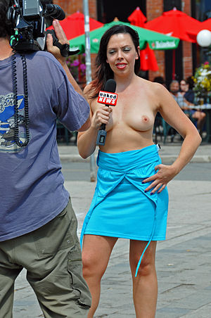 Naked News - Former Naked News anchor Christine Kerr, in Toronto (Canada), 2008