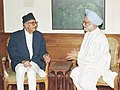 Former Prime Minister of Nepal Shri G.P. Koirala calls on the Prime Minister Dr. Manmohan Singh in New Delhi on June 29, 2004.jpg