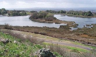 Fountaingrove Lake - Fountaingrove Lake showing sedimentation ponds at edge of lake.