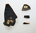 Four fragments of a terracotta kylix-Komast cup (drinking cup) MET sf20116034front.jpg