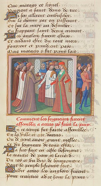 Congress of Arras - Image: Français 5054, fol. 86, Conférences d'Arras (1435)