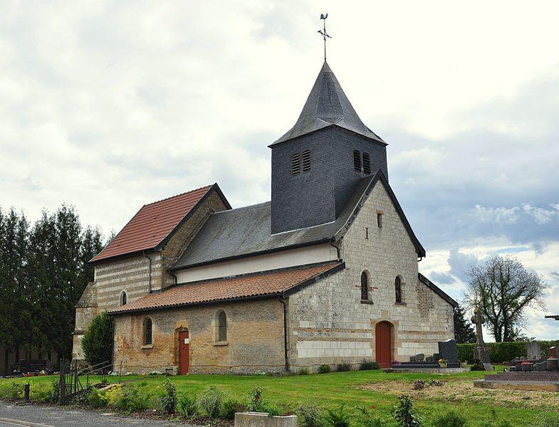 St. Nicholas' church in Daucourt (municipality of Élise-Daucourt, canton Sainte-Ménehould, arrondissement Sainte-Ménehould, Marne department, Champagne-Ardenne region, France).