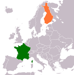 Map indicating locations of France and Finland
