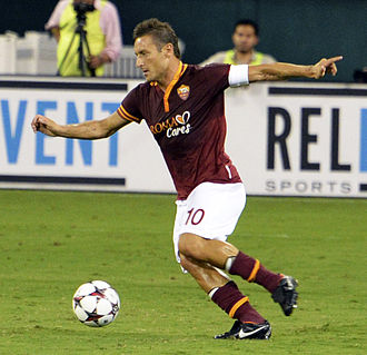 Francesco Totti, the top goalscorer and the most capped player in Roma's history Francesco Totti Chelsea vs AS-Roma 10AUG2013.jpg