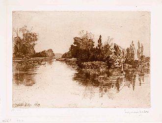 Francis Seymour Haden - The Island Opposite Boyle's Farm, Upper Thames (1869)