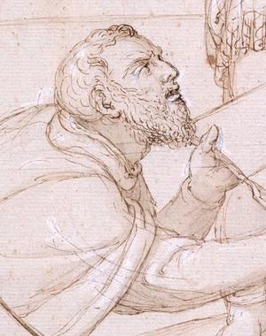 Francisco de Holanda - Self-portrait (ca. 1573), the artist presenting his book