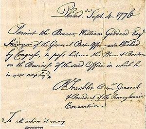 William Goddard (U.S. patriot/publisher) - Franklin pass for Goddard September 4th 1776