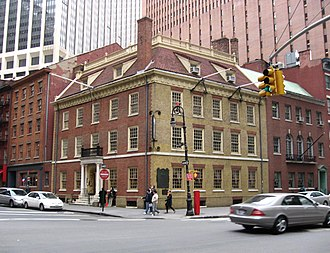 Sons of the Revolution - Fraunces Tavern at the southeast corner on Pearl Street at Broad Street at lower Manhattan in New York