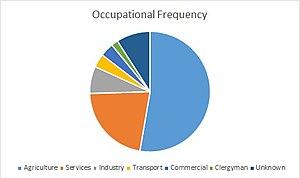Farnham, Suffolk - Image: Frequency of Job Types in 1881