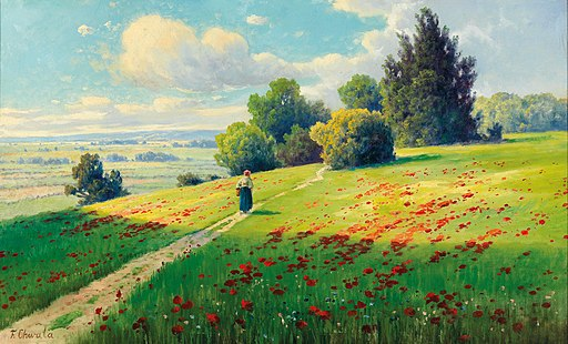Fritz Chwala - A Field of Poppies