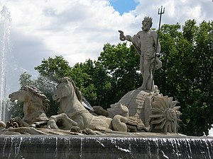 Fountain of Neptune at the Plaza de Cánovas de...