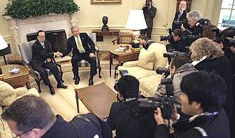 Yasuo Fukuda - Image: Fukuda meets Bush in Oval Office 16 November 2007