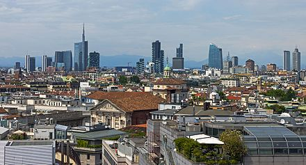 Milan is a global financial centre and a fashion capital of the world. Full Milan skyline from Duomo roof.jpg