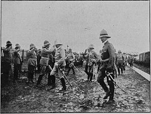 Alfred von Waldersee - German Officers Welcoming Field-Marshal Count Von Waldersee At The Railway Station, Tientsin