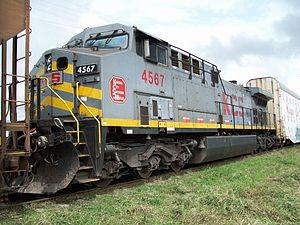 Kansas City Southern de México - GE AC4400CW KCSM 4567 near Caltzonzin Station