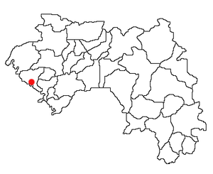 Location of Boffa Prefecture and seat in Guinea.