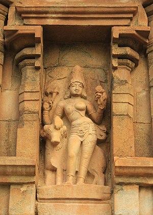 Great Living Chola Temples - Ardhanarishvara – half Shiva, half Parvati – sculpture at Gangaikondacholapuram.