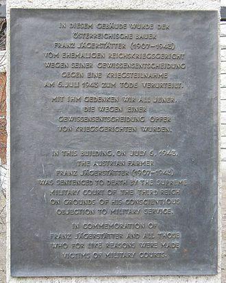 Reichskriegsgericht - Gedenktafel für Franz Jägerstätter am ehemaligen Reichskriegsgericht in Berlin
