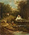 Gemälde - Gehöft am Bach und Mädchen - Carl Spitzweg.jpg