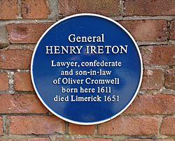 Photo of Henry Ireton blue plaque