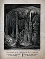 Geology; visitors climbing the large stalactites in a cave a Wellcome V0025123.jpg