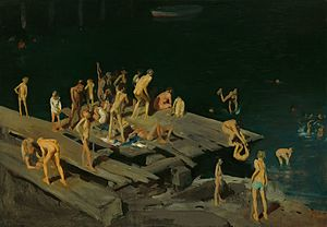 The Swimming Hole - George Bellows. Forty-two Kids, 1907, oil on canvas, Corcoran Gallery of Art.