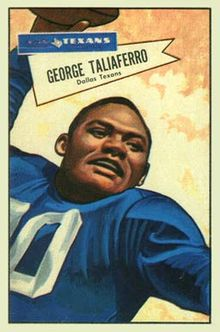 "The cover of George Taliaferro's baseball card is a stylized drawing showing a close-up of Taliaferro, smiling, holding a football as if he is in the process of ""spiking"" it."