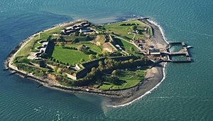 Fort Warren (Massachusetts) - Aerial photo of Georges Island and Fort Warren